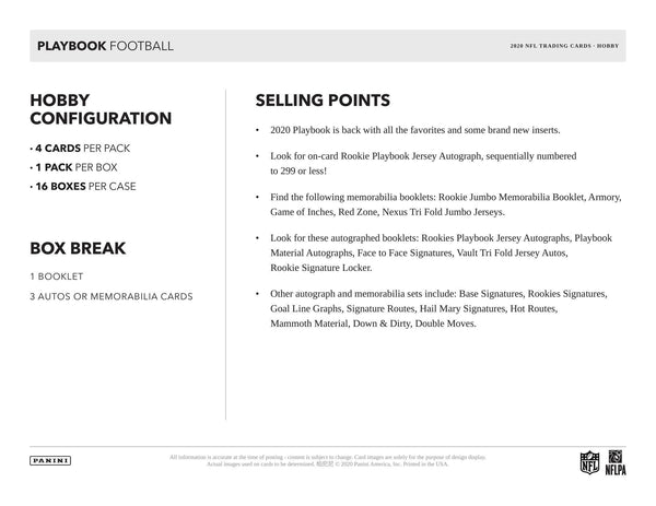 2020 Panini Playbook Football Hobby Box