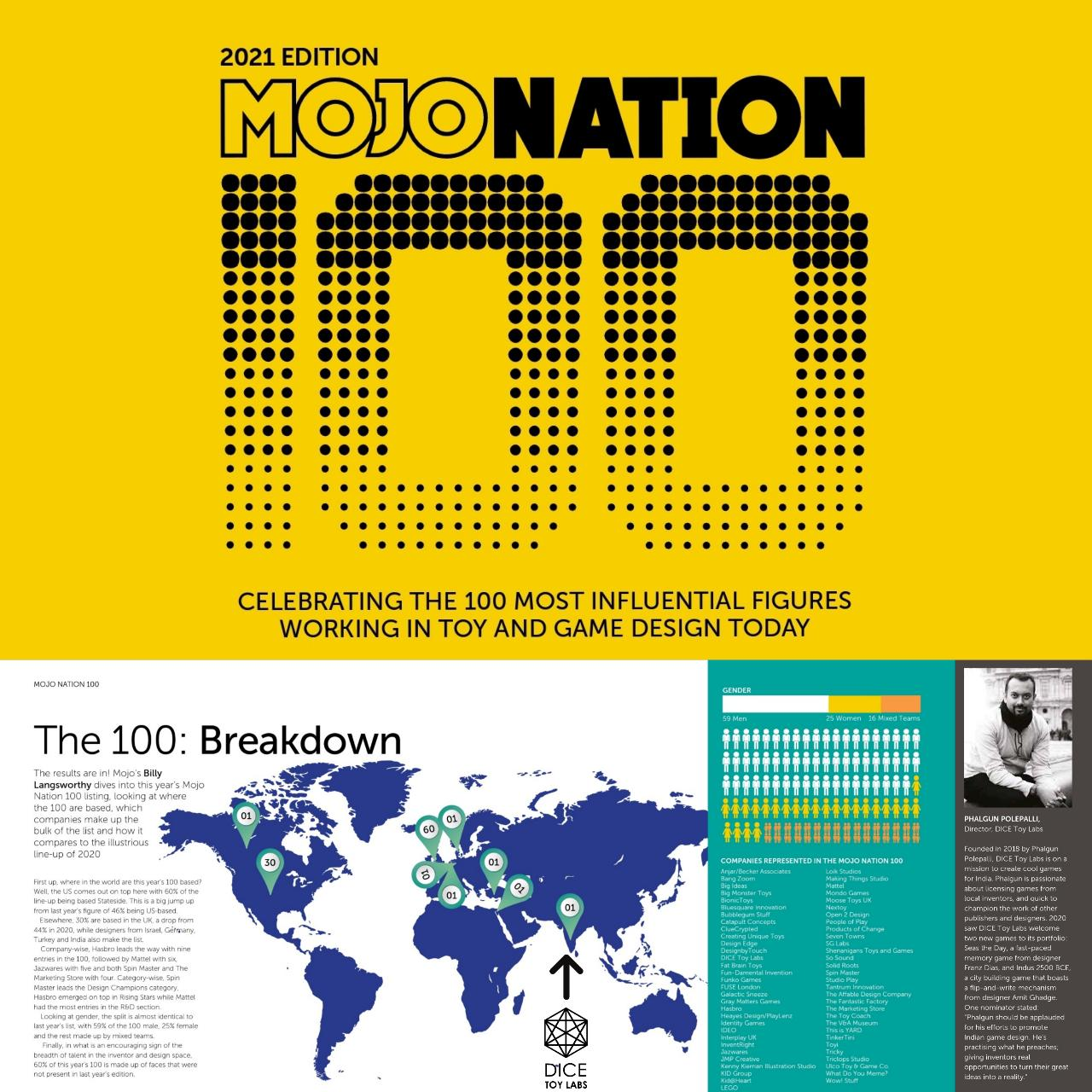 MOJONATION 100 UK DICE TOY LABS INDIAN BOARD GAMES PUBLISHER