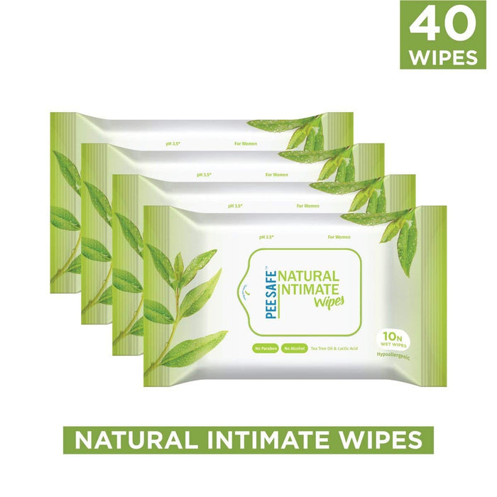 Pee safe Natural Intimate Wipes - 10 Count (Pack of 4)