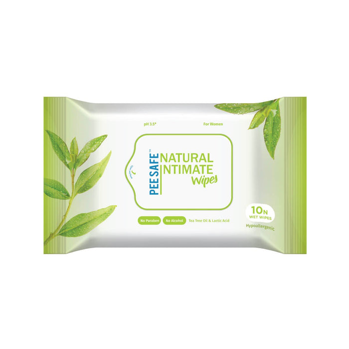 Pee safe Natural Intimate Wipes - 10 Count