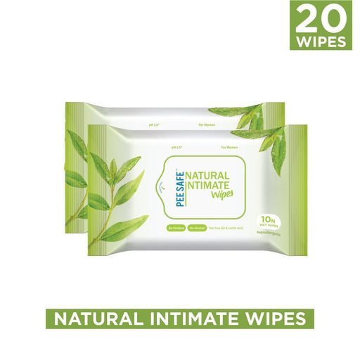 Pee Safe Natural Intimate Wipes - 10 Count (Set of 2)