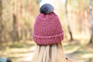 winter wool hat dark pink-1 with natural chinchilla fur pompon unique handmade