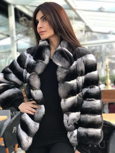 REAL NEW GENUINE CHINCHILLA ROYAL FUR COAT JACKET MODEL CFS-007