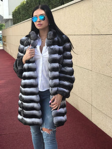 REAL NEW CHINCHILLA ROYAL FUR COAT JACKET  MODEL CFS-003