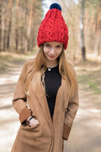 Load image into Gallery viewer, winter wool hat  with natural chinchilla fur pompon unique handmade