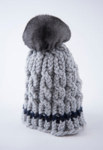 winter wool light-grey  with natural chinchilla  fur pompon unique handmade