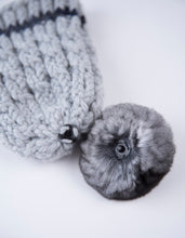 Load image into Gallery viewer, winter wool light-grey  with natural chinchilla  fur pompon unique handmade