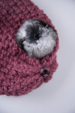 Load image into Gallery viewer, winter wool hat dark pink-2  with natural chinchilla fur pompon unique handmade