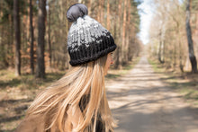 Load image into Gallery viewer, winter wool hat black-light grey  with natural chinchilla fur pompon unique handmade
