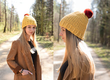 Load image into Gallery viewer, winter wool hat yellow  with natural chinchilla fur pompon unique handmade