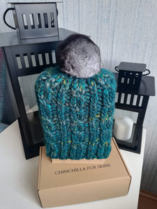 Luxury brand new winter wool hat with a scarf natural chinchilla fur pompon set 2