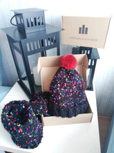 Load image into Gallery viewer, Luxury brand new winter wool hat with a scarf natural chinchilla fur pompon set 1