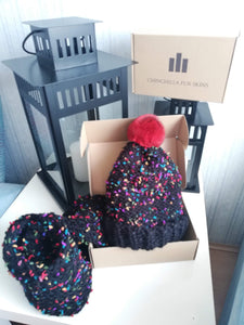 Luxury brand new winter wool hat with a scarf natural chinchilla fur pompon set 1