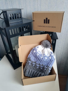 Luxury unique handmade winter hat cap ski with real chinchilla fur pompon  hat-2