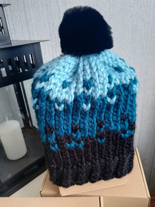 Luxury unique handmade winter  hat cap ski with real chinchilla fur pompon hat-1