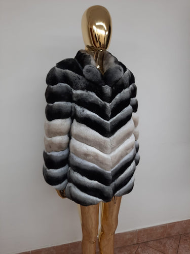 REAL NEW CHINCHILLA ROYAL FUR COAT JACKET  MODEL CFS-015
