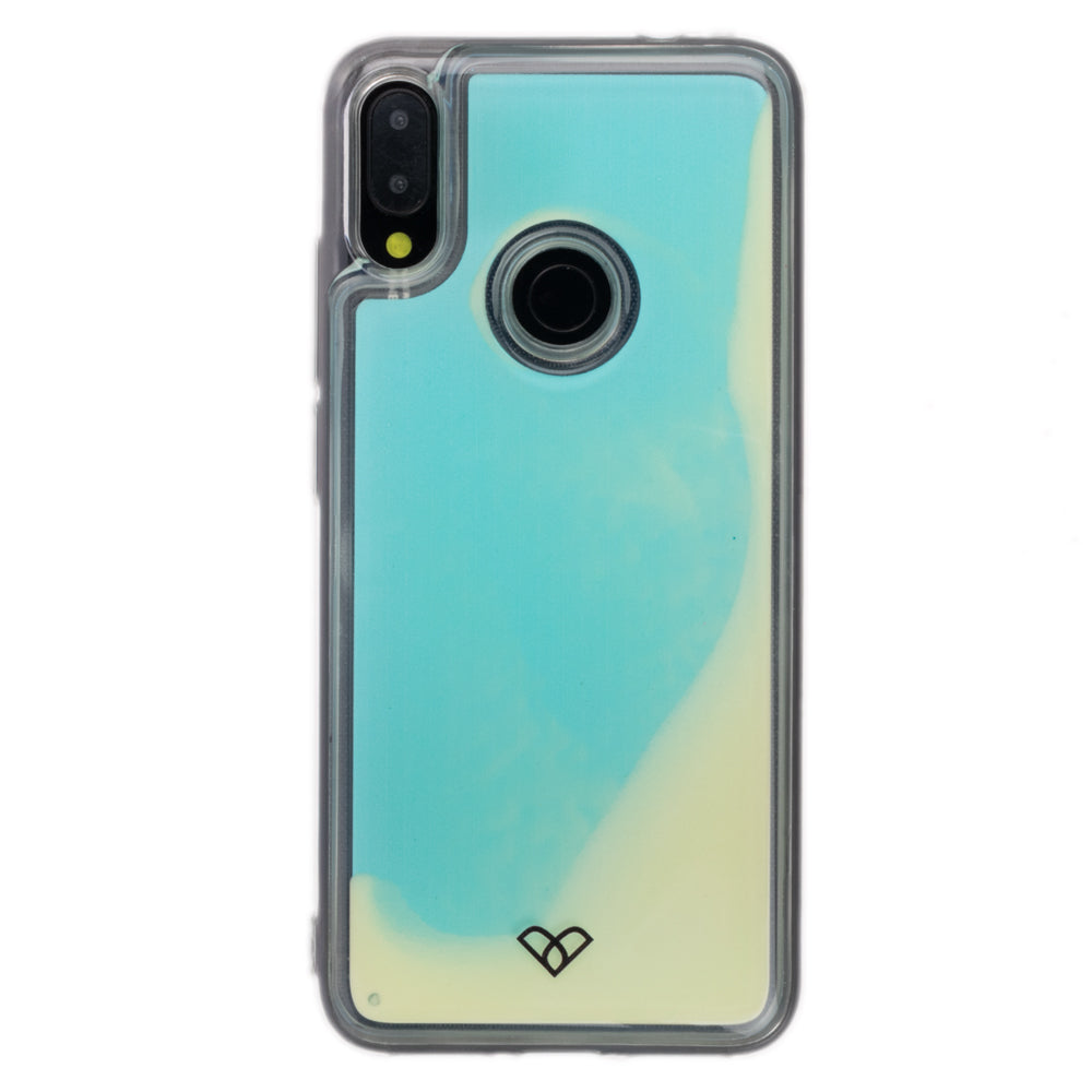 Redmi Note 7 Pro Neon Sand Liquid Glow Cases-Blue-White