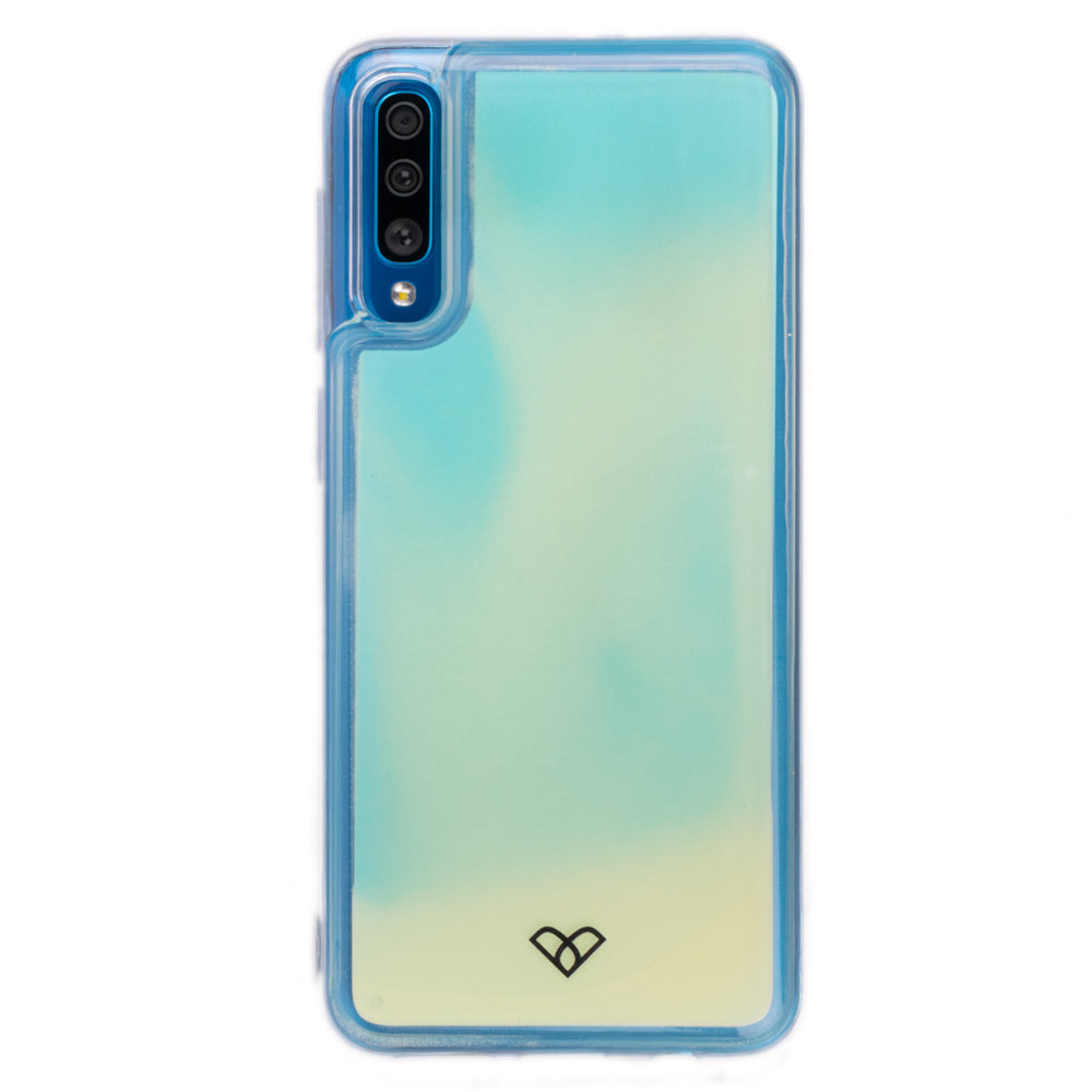 Galaxy A50 Neon Sand Liquid Glow Cases-Blue-White
