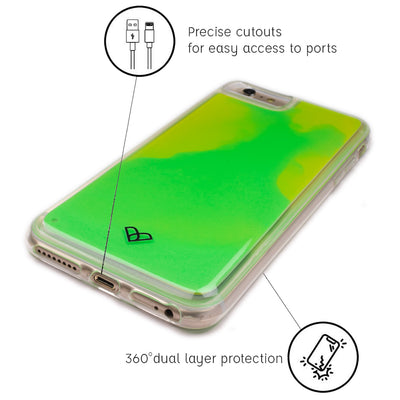 iPhone 6S Neon Sand Liquid Glow Cases-Green-Yellow