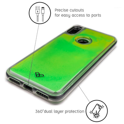 Redmi Note 7 Neon Sand Liquid Glow Cases-Green-Yellow