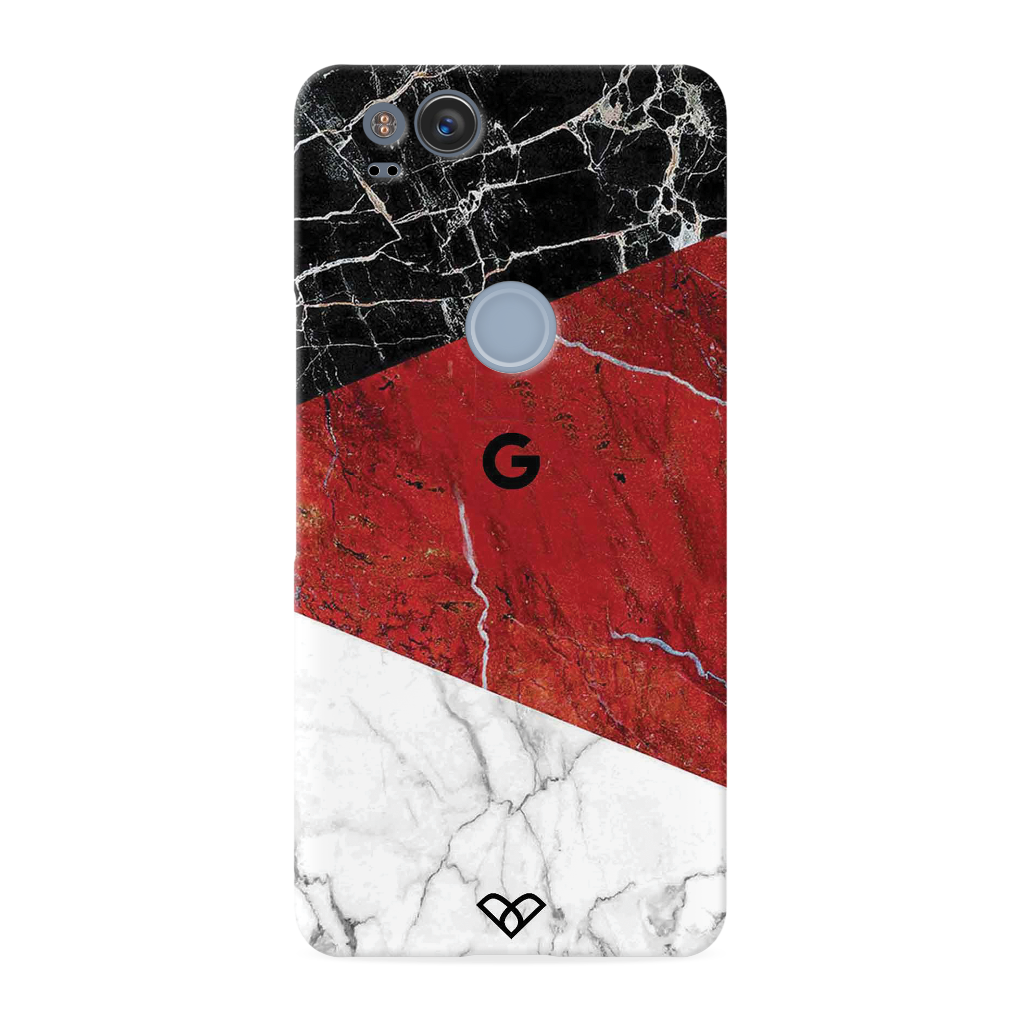 Red Geometric Marble Slim Case And Cover For Pixel 2
