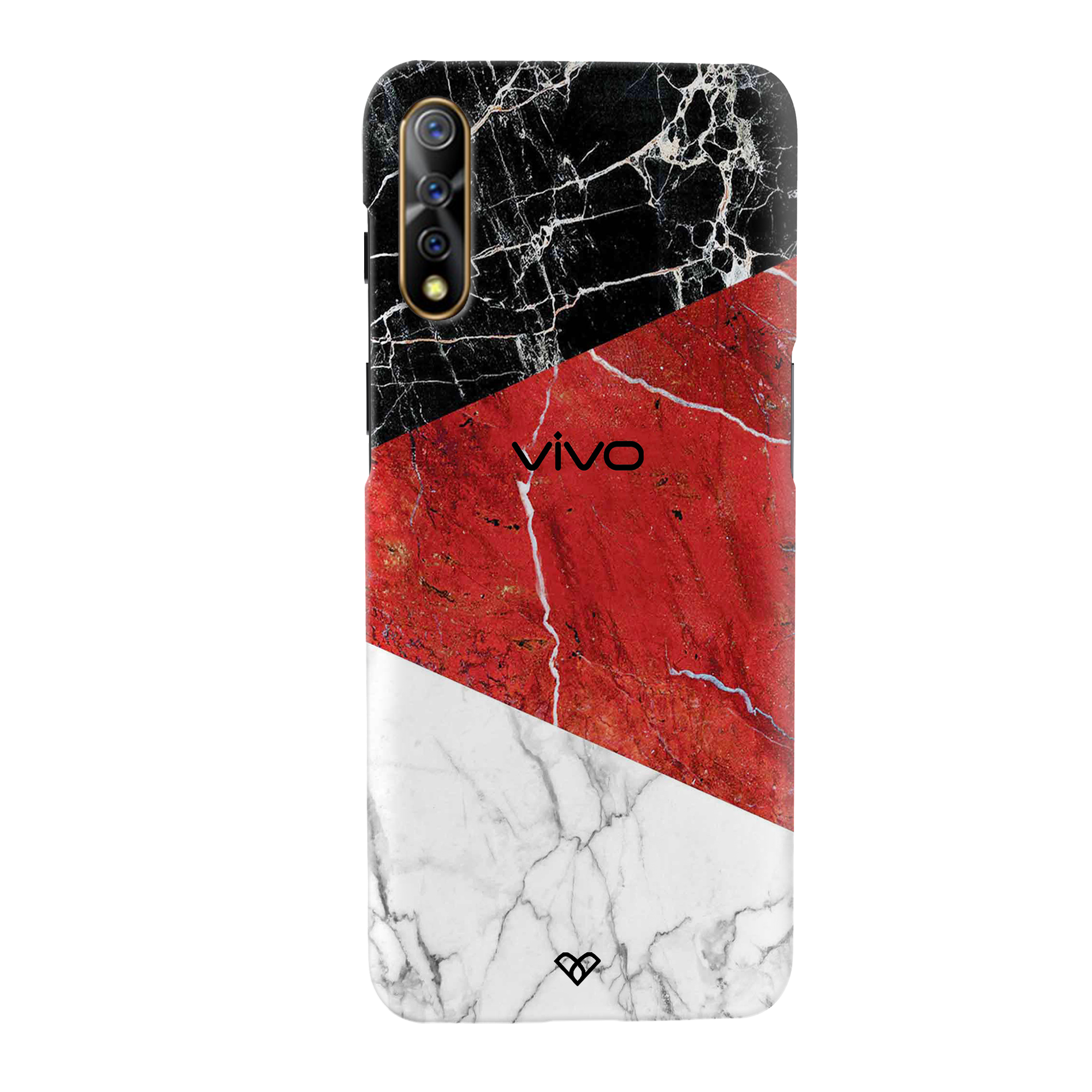 Red Geometric Marble Slim Case And Cover For Vivo S1