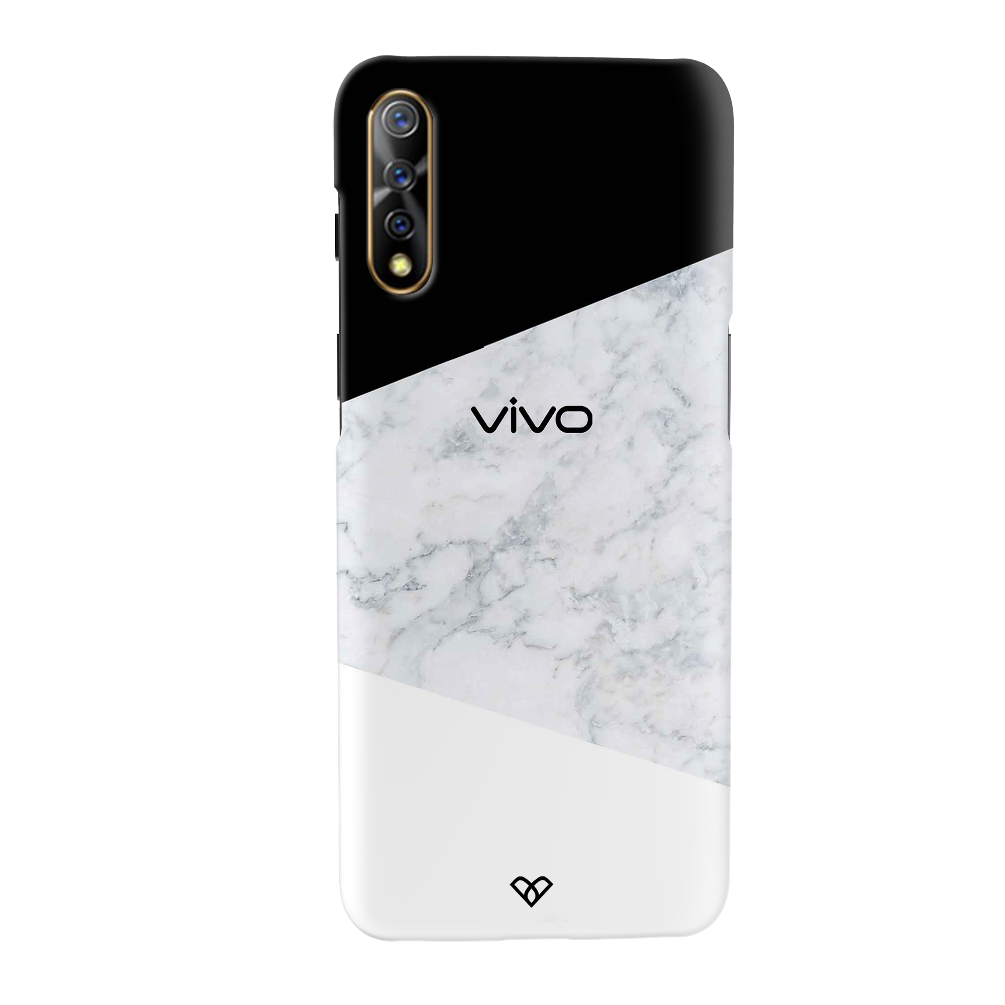 Geometric White Marble Slim Case And Cover For Vivo S1