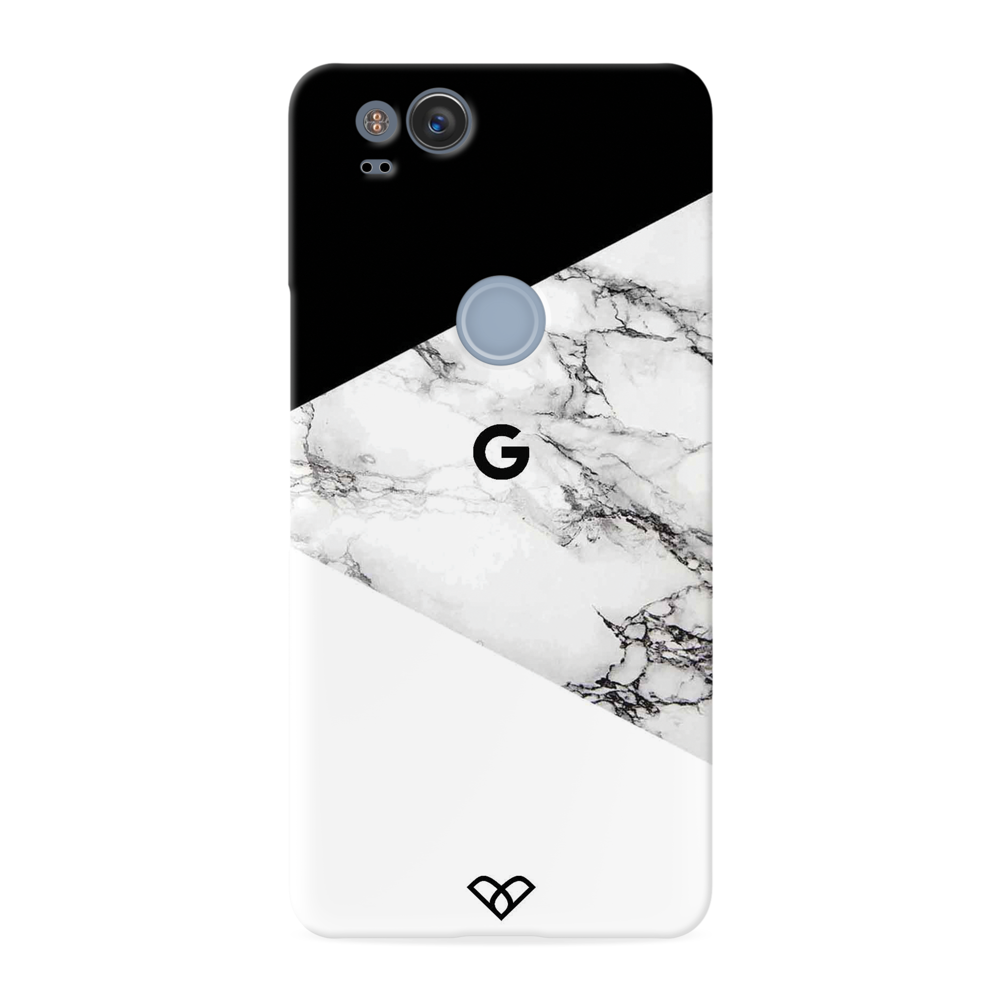 Geometric White Marble Textured Slim Case And Cover For Pixel 2