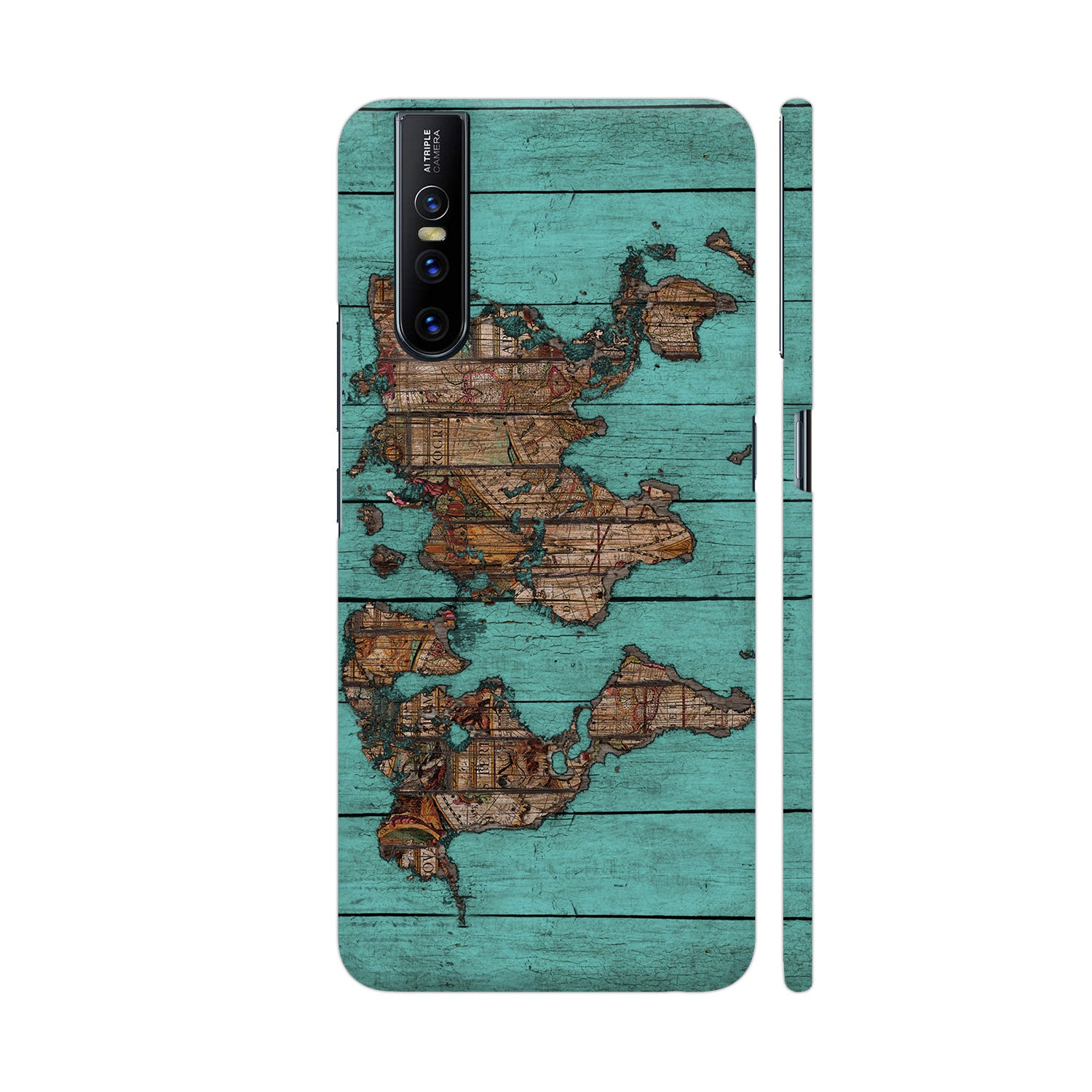 World Map Teal Slim Case And Cover For Vivo V15 Pro