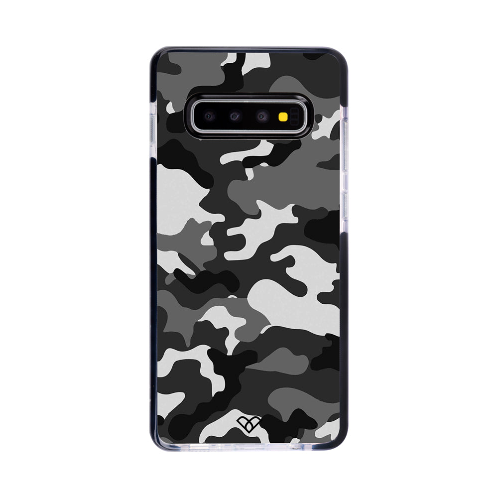 Black Patterned Camouflage Impact Case And Cover For Galaxy S10