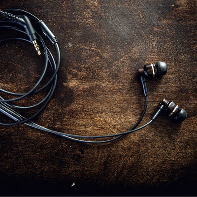 Avalon earbuds with mic. - handcrafted in real bamboo and ebony