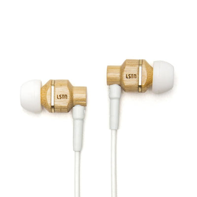 Avalon earbuds with mic. - handcrafted in real bamboo and ebony - Bamboo Wood