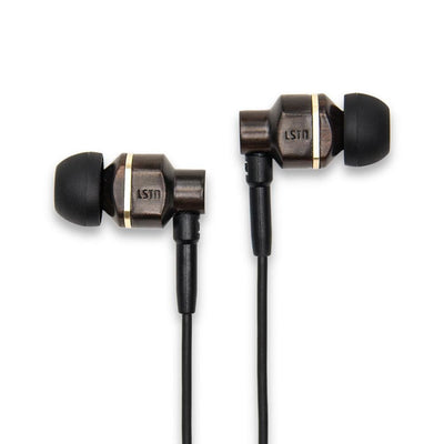 Avalon earbuds with mic. - handcrafted in real bamboo and ebony - Ebony Wood