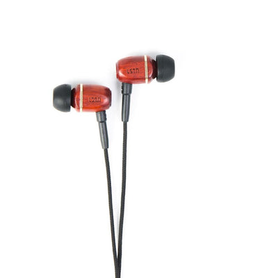 Bowerys - earbuds with mic. - Cherry Wood