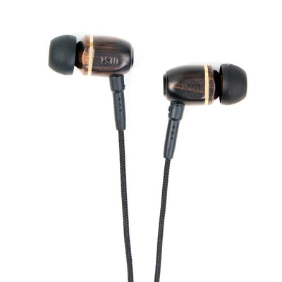 Bowerys - earbuds with mic. - Ebony Wood