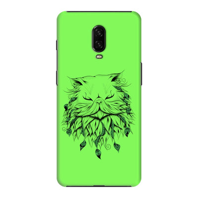 Poetic Persian Cat Slim Case And Cover For Oneplus 6T - Neon Green