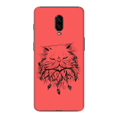 Poetic Persian Cat Slim Case And Cover For Oneplus 6T - Neon Red