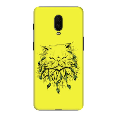 Poetic Persian Cat Slim Case And Cover For Oneplus 6T - Neon Yellow