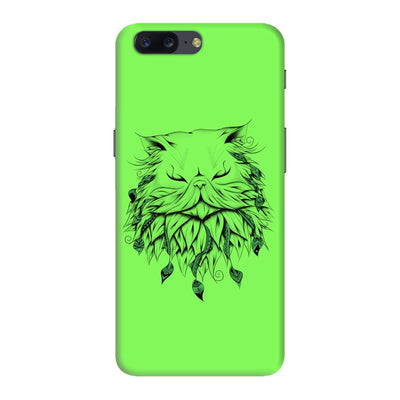 Poetic Persian Cat Slim Case And Cover For Oneplus Five - Neon Green