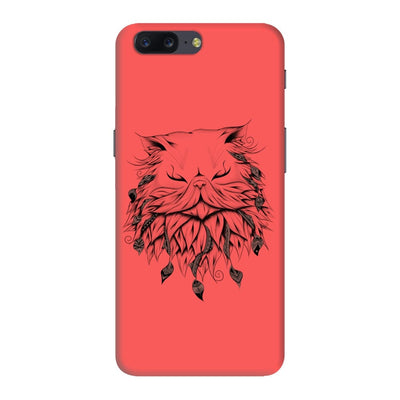 Poetic Persian Cat Slim Case And Cover For Oneplus Five - Neon Red