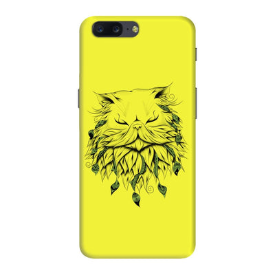 Poetic Persian Cat Slim Case And Cover For Oneplus Five - Neon Yellow