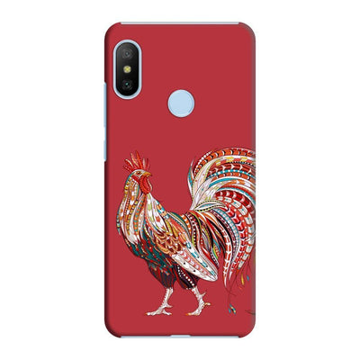 Rooster-The Morning Champ Slim Case And Cover For Redmi 6 Pro - Red