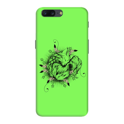 The Little Fox Slim Case And Cover For Oneplus Five - Neon Green
