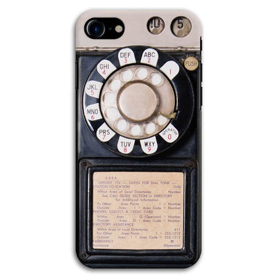 Vintage Slot Phone A.K.A The Public Payphone Slim Case And Cover For Iphone 7 - Black