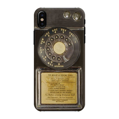 Vintage Slot Phone A.K.A The Public Payphone Slim Case And Cover For Iphone X - Bakelite Black