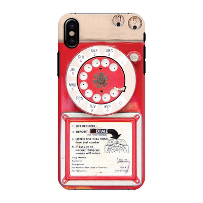 Vintage Slot Phone A.K.A The Public Payphone Slim Case And Cover For Iphone X - Red