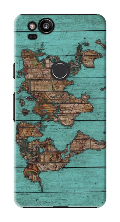 World Map Teal Slim Case And Cover For Pixel 2