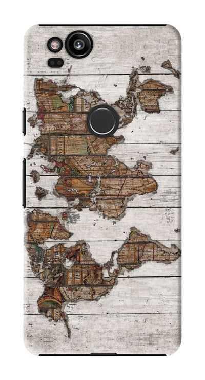 World Map White Slim Case And Cover For Pixel 2
