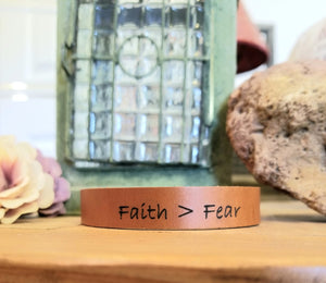 Leather Cuff Bracelet - Faith Over Fear