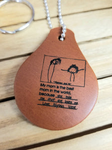 Handwriting Leather Keychain - Key Ring - Loved ones - Childs Artwork - Rememberance - Gift